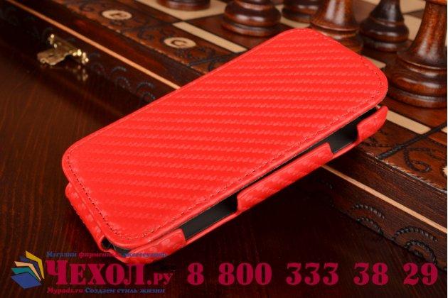 Фирменный вертикальный откидной чехол-флип для Samsung Galaxy S Duos GT-S7562 красный кожаный