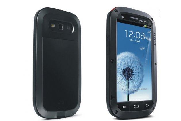Неубиваемый водостойкий противоударный водонепроницаемый грязестойкий влагозащитный ударопрочный фирменный чехол-бампер для Samsung Galaxy S3 GT-I9300/Duos GT-I9300I цельно-металлический со стеклом Gorilla Glass