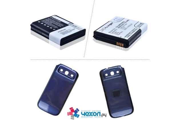 Усиленная батарея-аккумулятор большой повышенной ёмкости 4200mAh для телефона Samsung Galaxy S3 GT-I9300/Duos GT-I9300i  + задняя крышка в комплекте синяя + гарантия