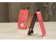 Чехол-флип для Samsung Galaxy S3 Mini GT-i8190 красный со стразами..