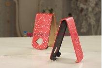 Чехол-флип для Samsung Galaxy S3 Mini GT-i8190 красный со стразами