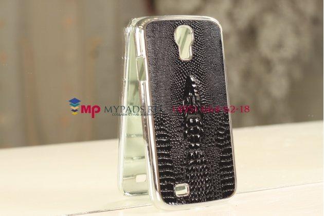 Задняя панель-крышка для Samsung Galaxy S4 с объёмным изображением крокодила черный