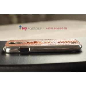 Задняя панель-крышка-накладка для Samsung Galaxy S4 с объёмным изображением крокодила коричневый