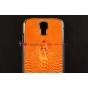 Задняя панель-крышка для Samsung Galaxy S4 с объёмным изображением крокодила оранжевый