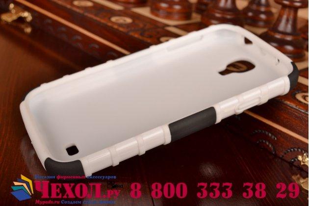 Противоударный усиленный ударопрочный фирменный чехол-бампер-пенал для Samsung Galaxy S4 GT-i9500/i9505 белый