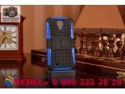 Противоударный усиленный ударопрочный фирменный чехол-бампер-пенал для Samsung Galaxy S4 GT-i9500/i9505 синий..