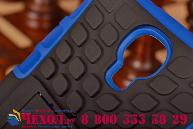 Противоударный усиленный ударопрочный фирменный чехол-бампер-пенал для Samsung Galaxy S4 GT-i9500/i9505 синий