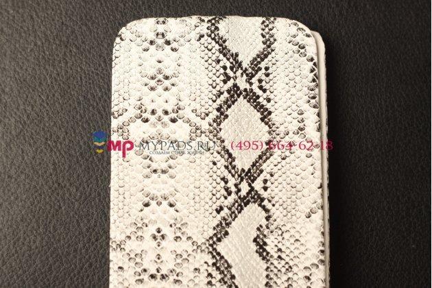 """Фирменный чехол-флип вертикальный для Samsung Galaxy S4 """"змеиная кожа"""" белый"""
