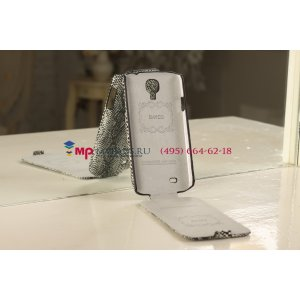"""Фирменный чехол-флип вертикальный для Samsung Galaxy S4 """"змеиная кожа"""" черный"""