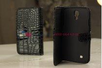 Лаковая блестящая кожа под крокодила чехол-книжка для Samsung Galaxy S4 брутальный черный