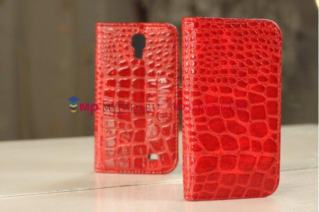 Фирменный чехол-футляр для Samsung Galaxy S4 лаковая кожа крокодила алый огненный красный