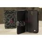 Чехол-книжка для Samsung Galaxy S4 i9500 со стразами черный кожаный..