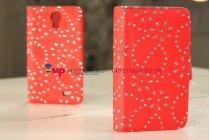 Фирменный чехол-книжка для Samsung Galaxy S4 i9500/i9505 со стразами красный кожаный
