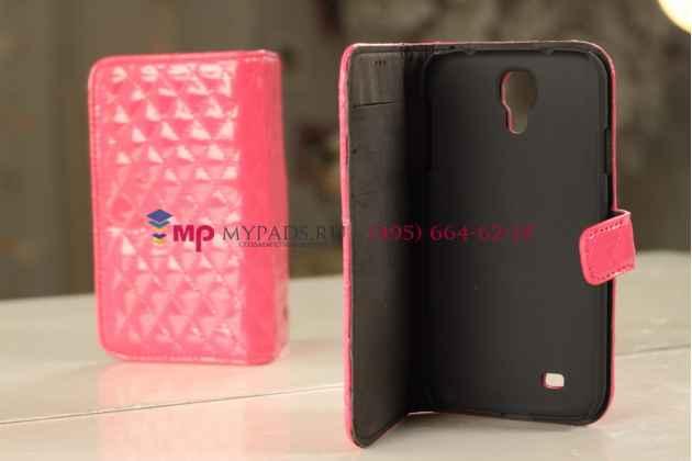 Сгёганая кожа в ромбик яркий сочный цвет чехол-книжка для Samsung Galaxy S4 кожаный веселая вдова