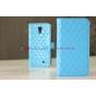 Сгёганая кожа в ромбик яркий сочный цвет чехол-книжка для Samsung Galaxy S4 синий кожаный..