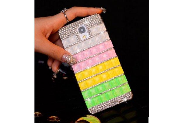Фирменная роскошная элитная пластиковая задняя панель-накладка украшенная стразами кристалликами и декорированная элементами для Samsung Galaxy S4 GT-i9500/i9505 радужная