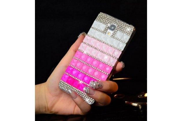 Фирменная роскошная элитная пластиковая задняя панель-накладка украшенная стразами кристалликами и декорированная элементами для Samsung Galaxy S4 GT-i9500/i9505 малиновая