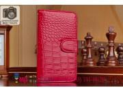 Фирменный чехол-книжка с подставкой для Samsung Galaxy S6 лаковая кожа крокодила алый огненный красный..