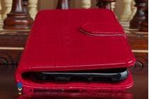 Фирменный чехол-книжка с подставкой для Samsung Galaxy S6 лаковая кожа крокодила алый огненный красный