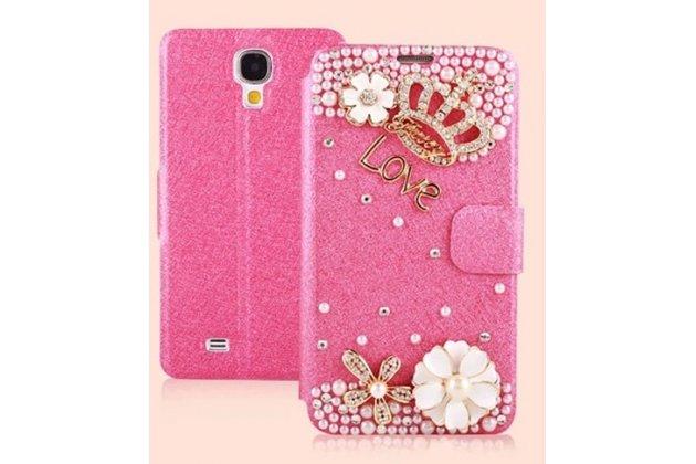 Фирменный роскошный чехол-книжка безумно красивый декорированный бусинками и кристаликами на Samsung Galaxy S4 GT-i9500/i9505