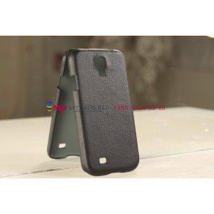 Кожаная задняя панель-крышка для Samsung Galaxy S4 i9500 черная