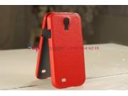 Кожаная задняя панель-крышка для Samsung Galaxy S4 i9500 красная..