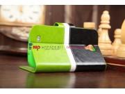 Чехол-книжка для Samsung Galaxy S4 GT-i9500/i9505 черно-зеленый кожаный..