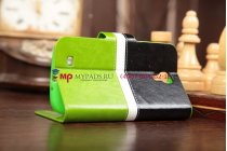 Чехол-книжка для Samsung Galaxy S4 GT-i9500/i9505 черно-зеленый кожаный