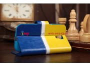 Чехол-книжка для Samsung Galaxy S4 GT-i9500/i9505 желто-синий кожаный..