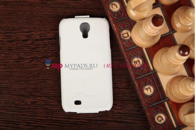 Чехол откидной вертикальный для Samsung Galaxy S4 GT-i9500/i9505 белый кожаный