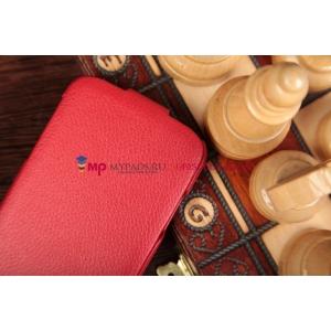 Чехол откидной вертикальный для Samsung Galaxy S4 GT-i9500/i9505 красный кожаный