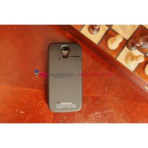Чехол-книжка с окошком со встроенной усиленной мощной батарей-аккумулятором большой повышенной расширенной ёмкости 3200mAh для Samsung Galaxy S4 GT-i9500/i9505 черный кожаный+ гарантия