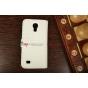 Чехол-книжка для Samsung Galaxy S4 Mini i9190/i9192/i9195 кожа крокодила белый..