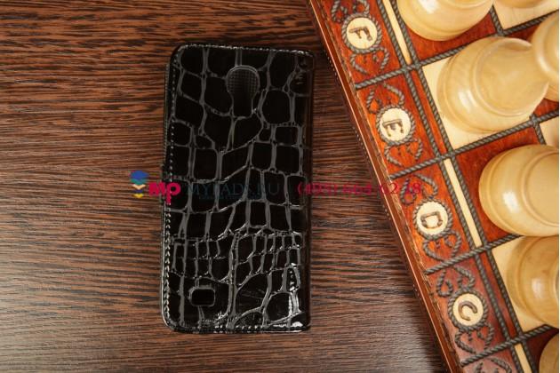 Чехол-книжка для Samsung Galaxy S4 Mini i9190/i9192/i9195, лаковая блестящая кожа под крокодила черного цвета