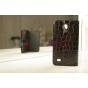 Лаковая блестящая кожа под крокодила чехол-книжка для Samsung Galaxy S4 Mini i9190/i9192/i9195 черный