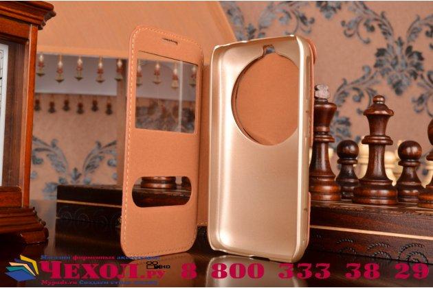 Фирменный оригинальный чехол-книжка который полностью закрывает заднюю камеру для Samsung Galaxy K Zoom SM-C115 коричневый кожаный с окошком для входящих вызовов и свайпом