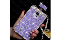 Фирменная роскошная элитная пластиковая задняя панель-накладка украшенная стразами кристалликами формы духов для Samsung Galaxy S5 SM-G900H/G900F фиолетовая