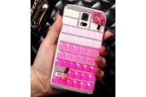 Фирменная роскошная элитная пластиковая задняя панель-накладка украшенная стразами кристалликами и декорированная элементами для Samsung Galaxy S5 SM-G900H/G900F малиновая