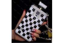 Фирменная роскошная элитная пластиковая задняя панель-накладка украшенная стразами кристалликами формы духов для Samsung Galaxy S5 SM-G900H/G900F черно-белая