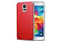 Фирменная роскошная элитная премиальная задняя панель-крышка на металлической основе обтянутая импортной кожей для Samsung Galaxy S5 королевский красный