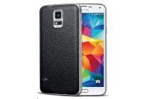 Фирменная роскошная элитная премиальная задняя панель-крышка на металлической основе обтянутая импортной кожей для Samsung Galaxy S5 SM-G900H/G900F королевский черный