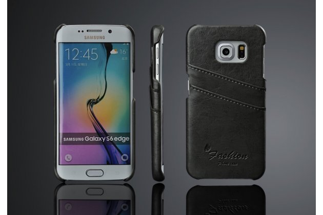 Фирменная роскошная элитная премиальная задняя панель-крышка для Samsung Galaxy S6 Edge из качественной кожи буйвола с визитницей черный