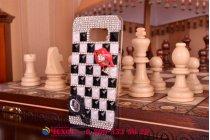 Фирменная роскошная элитная пластиковая задняя панель-накладка украшенная стразами кристалликами и декорированная элементами для Samsung Galaxy S6 Edge черно-белая