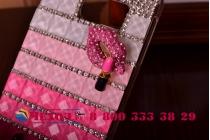 Фирменная роскошная элитная пластиковая задняя панель-накладка украшенная стразами кристалликами и декорированная элементами для Samsung Galaxy S6 Edge малиновая