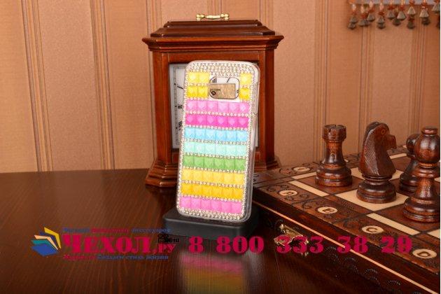 Фирменная роскошная элитная пластиковая задняя панель-накладка украшенная стразами кристалликами и декорированная элементами для Samsung Galaxy S6 Edge радужная