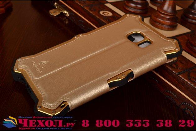 Противоударный усиленный ударопрочный фирменный чехол-бампер на металлической основе для Samsung Galaxy S6 Edge SM-G925F с кожаной накладкой с окошком для входящих вызовов и свайпом  золотого цвета