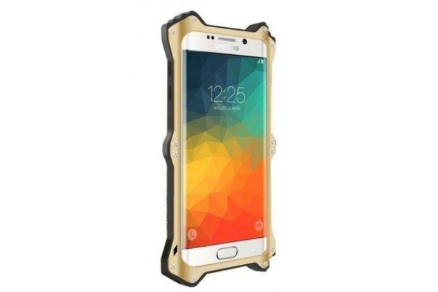 Противоударный усиленный неубиваемый бампер на металлической основе для Samsung Galaxy Note 5 N920 с кожаной накладкой с окошком для входящих вызовов и свайпом золотого цвета