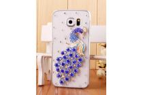 Фирменная роскошная элитная пластиковая задняя панель-накладка украшенная стразами кристалликами для Samsung Galaxy S6 Edge Жар-Птица синяя
