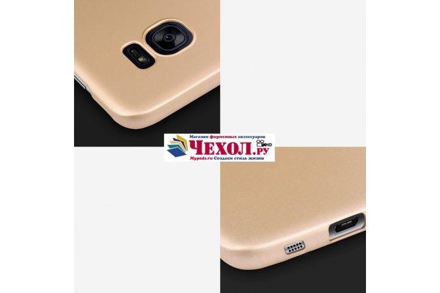 Фирменная задняя панель-крышка-накладка из тончайшего и прочного пластика для Samsung Galaxy S6 Edge золотая