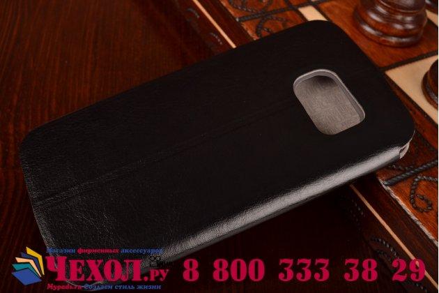 Фирменный чехол-книжка из качественной водоотталкивающей импортной кожи на жёсткой металлической основе для Samsung Galaxy S6 Edge черный